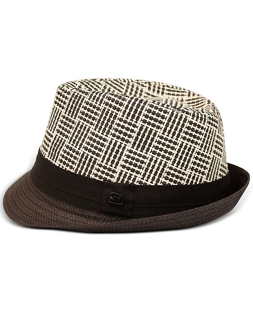 Sean John Men's Check Braid Fedora, Created for Macy's
