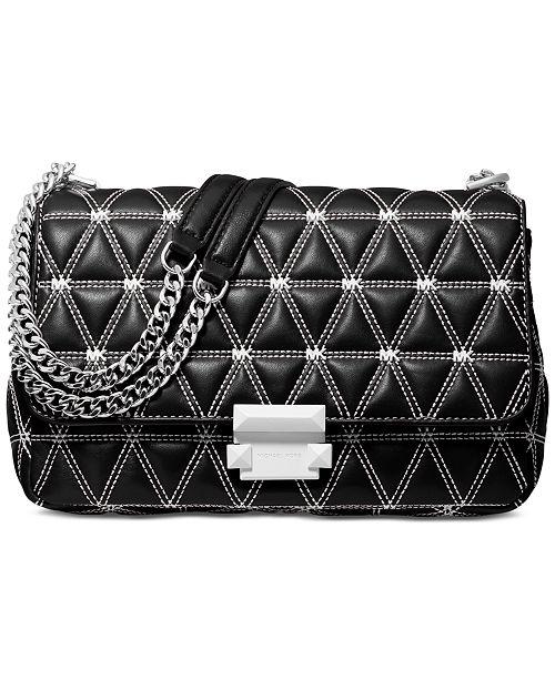 96e4da9f9b5 Michael Kors Sloan Logo Studded Chain Shoulder Bag   Reviews ...