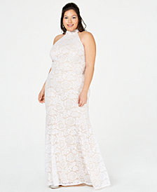 B Darlin Trendy Plus Size Sequined Lace Halter Gown