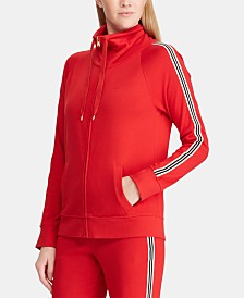 Lauren Ralph Lauren Striped Cotton Active Zip Front Jacket