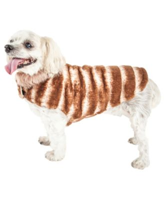 Pet Life Luxe 'Tira-Poochoo' Tiramisu Patterned Faux Fur Dog Coat Jacket