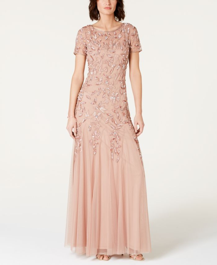 Adrianna Papell Petite Floral Beaded Gown & Reviews - Dresses - Petites - Macy's