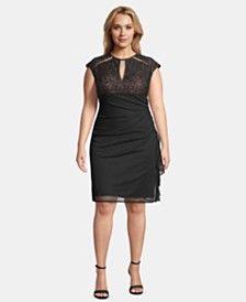 Betsy & Adam Plus Size Lace-Top Ruched Sheath Dress