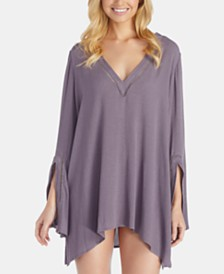 Raisins Solid Butterfly Caftan Cover-Up Dress