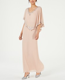 J Kara Beaded Capelet Gown