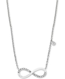 "EFFY® Diamond Infinity 18"" Pendant Necklace (1/10 ct. t.w.) in 14k White Gold"