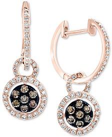 EFFY® Diamond Halo Dangle Hoop Earrings (5/8 ct. t.w.) in 14k Rose Gold