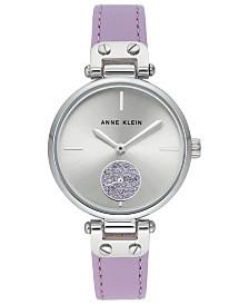 Anne Klein Women's Lavender Leather Strap Watch 34mm