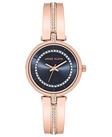Anne Klein Women's Rose Gold-Tone Bangle Bracelet Watch 30mm