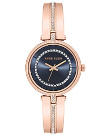 Anne Klein Women's Rose Gold-Tone Bangle Bracelet Watch 30mm