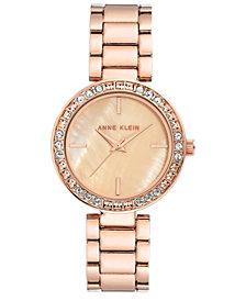 Anne Klein Women's Rose Gold-Tone Crystal Bracelet Watch 33.5mm