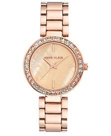 Anne Klein Women's Rose Gold-Tone Crystal Bracelet Watch 33.5mm