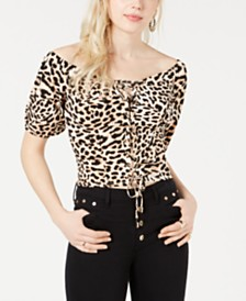 GUESS Francesca Leopard Print Cropped Top