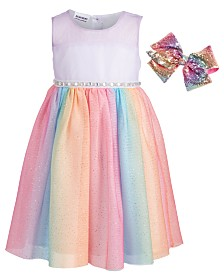 Blueberi Boulevard Toddler Girls 2-Pc. Rainbow Glitter Mesh Dress & Bow Set