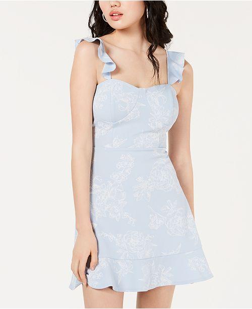 Material Girl Juniors' Embossed Ruffle Dress, Created for Macy's