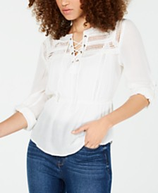 American Rag Juniors' Crochet-Trimmed Lace-Up Peasant Blouse, Created for Macy's