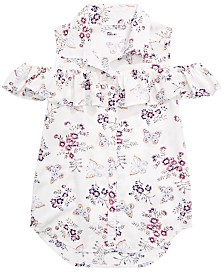 Epic Threads Big Girls Cold Shoulder Printed Shirt, Created for Macy's