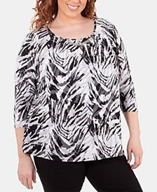 Plus Size Pleated-Neck Hardware-Trim Top