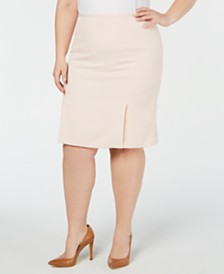 Calvin Klein Plus Size Pleat 2 Pleat Front Twill Skirt