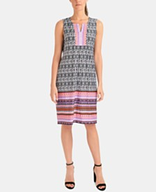 NY Collection Petite Border-Print Shift Dress