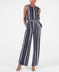 Jessica Howard Petite Sleeveless Striped Jumpsuit