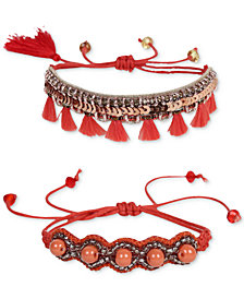 Deepa Coral Fabric 2-Pc. Set Friendship Bracelet