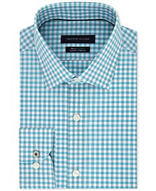 Tommy Hilfiger Men's Slim-Fit TH Flex Non-Iron Supima Stretch Aqua Gingham Dress Shirt