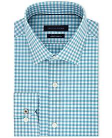 Tommy Hilfiger Men's Slim-Fit TH Flex Non-Iron Supima Stretch Aqua Gingham Dress Shirt