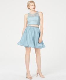 Sequin Hearts Juniors' 2-Pc. Crochet Chiffon Dress, Created for Macy's