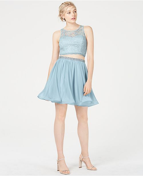 60d2cbb612 ... Sequin Hearts Juniors' 2-Pc. Crochet Chiffon Dress, Created for Macy's  ...
