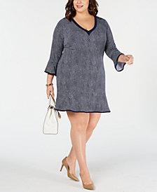 MICHAEL Michael Kors Plus Size Printed Ruffled-Hem Dress