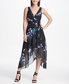 DKNY Chiffon V-Neck Midi Dress with Belt, Created for Macy's