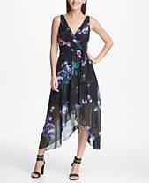 e4d0719813b DKNY Floral Chiffon V-Neck Midi Wrap Dress with Belt