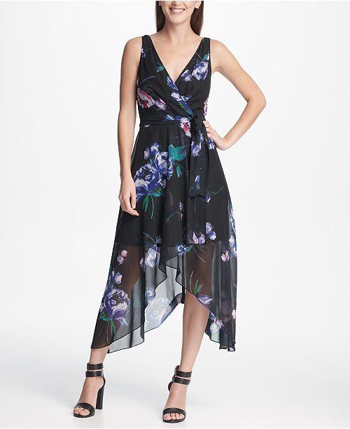 27b83a939e8 DKNY Floral Chiffon V-Neck Midi Wrap Dress with Belt   Reviews ...
