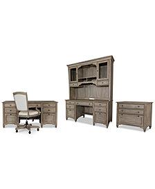York Home Office, 5-Pc. Furniture Set (Executive Desk, Credenza Desk, Credenza Hutch, Upholstered Desk Chair & Lateral File Cabinet)