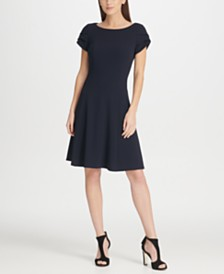 DKNY Tulip Sleeve Fit & Flare Dress