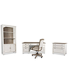 York Two-Tone Home Office, 4-Pc. Furniture Set (Two-Tone Executive Desk, Upholstered Desk Chair, Lateral File Cabinet & Bookcase)