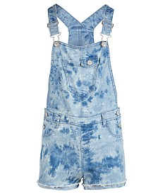 Epic Threads Big Girls Tie-Dyed Denim Shortalls, Created for Macy's