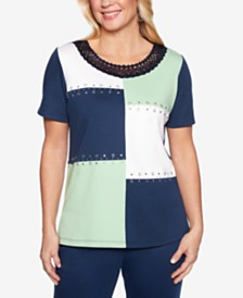 Alfred Dunner Petite Cote D'Azur Braided Colorblocked Top