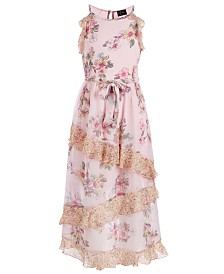 Pink & Violet Big Girls Ruffled Floral-Print Maxi Dress