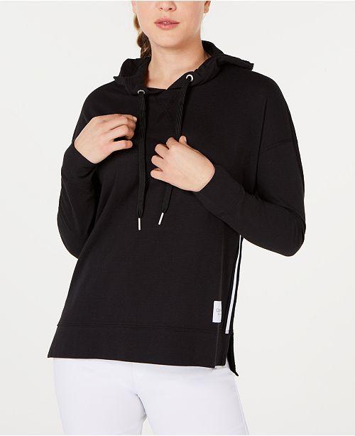 Calvin Klein Varsity-Stripe High-Low Hem Hoodie