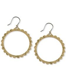 Lucky Brand Gold-Tone Scalloped Front-Facing Drop Hoop Earrings