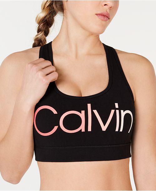 Calvin Klein Ombré Logo Racerback Medium-Impact Sports Bra