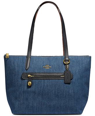 be29f3e04a38 COACH Denim Taylor Tote   Reviews - Handbags   Accessories - Macy s