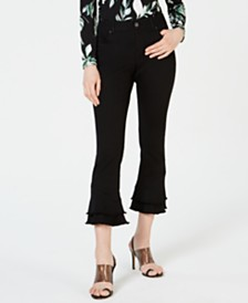 I.N.C. Petite Double-Ruffle Flare Jeans, Created for Macy's