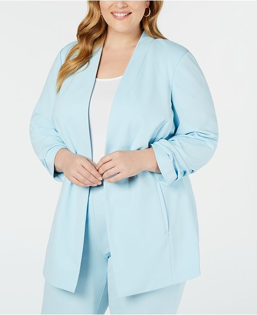 Alfani Plus Size Ruched-Sleeve Jacket, Created for Macy's