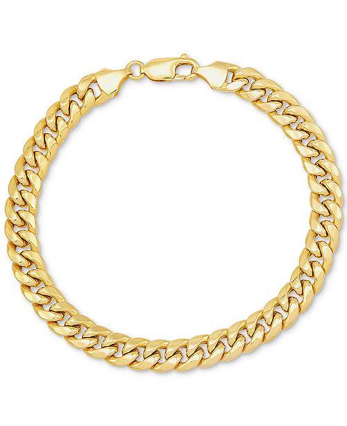 Italian Gold Men's Miami Cuban Link Bracelet in 10k Gold