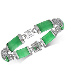 Dyed Jadeite (18 x 9mm) Link Bracelet in Sterling Silver