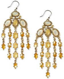Lucky Brand Gold-Tone Multi-Stone Chandelier Earrings