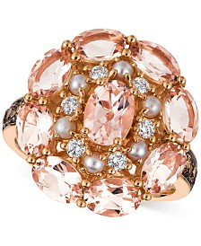 Le Vian® Peach Morganite (3 ct. t.w.), Pink Freshwater Pearl (2-1/2mm) & Diamond (1/2 ct. t.w.) Ring in 14k Rose Gold